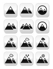 Mountain vector buttons set
