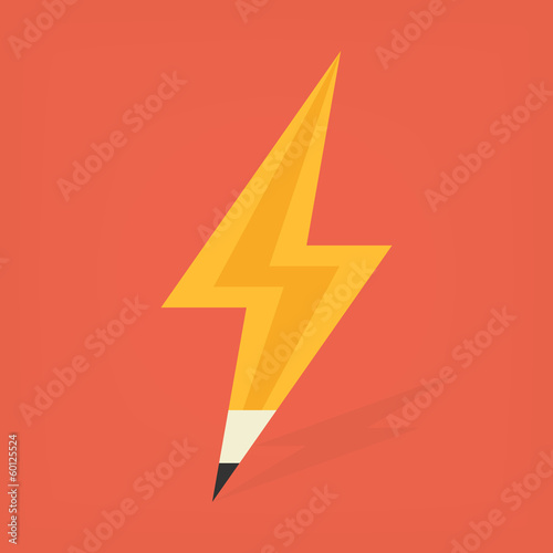 yellow pencil in thunder shape