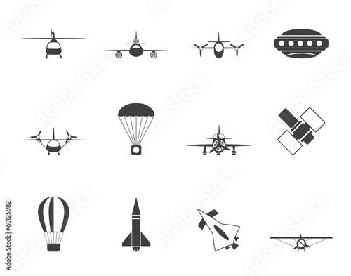 Silhouette different types of Aircraft Illustrations and icons