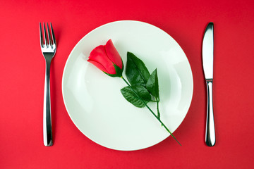 Rose in a plate