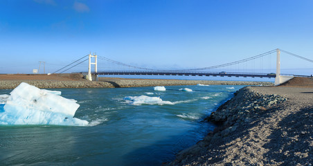 Bridge over icelands Jokulsarlon