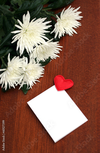 white flowers, bouquet on wooden table