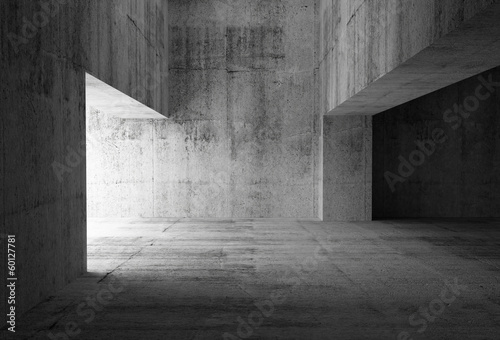 canvas print picture Empty dark abstract concrete room interior. 3d illustration