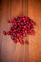 cranberries on a wooden background