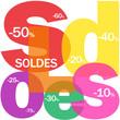 """Mosaïque de Lettres """"SOLDES"""" (offre spéciale courses shopping)"""