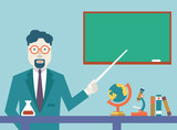 Flat vector teacher and study schools objects for study