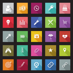 Set of flat design icons with long shadows.