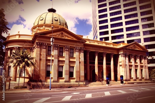 Brisbane, Australia - customs house. Cross processed color.