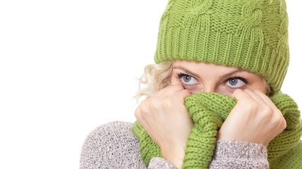 Girl covered her mouth and nose or face with scarf
