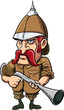 Cartoon big game hunter with pith helmet