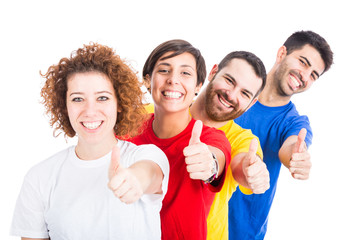 Happy Group of Friends on White Background
