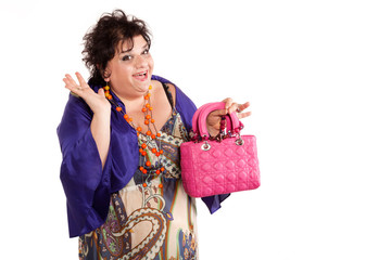 portrait of woman with her bags, oversize