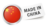 "Button mit Fahne "" MADE IN CHINA """