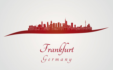 Frankfurt skyline in red
