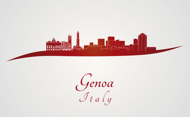 Genoa skyline in red