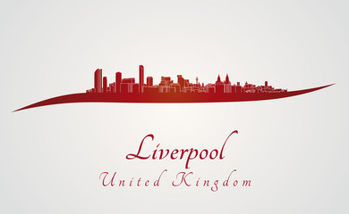 Liverpool skyline in red