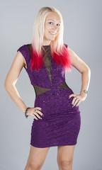 Beautiful young punk girl in purple