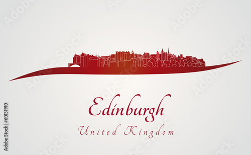 Edinburgh skyline in red