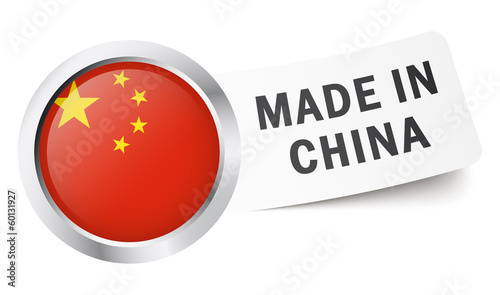 """Button mit Fahne """" MADE IN CHINA """""""