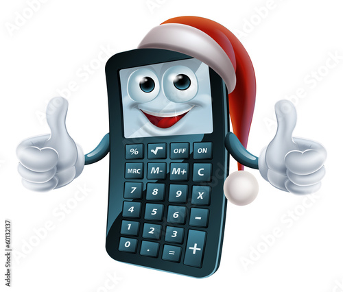 Calculator math christmas character