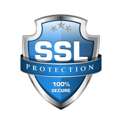 SSL Protection Secure Blue Shield Icon