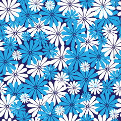 blue and white flowers seamless pattern