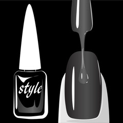 Nail polish on black background. vector