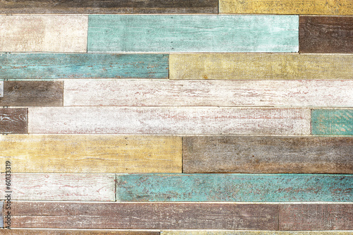 vintage colorful wooden planks - 60133319