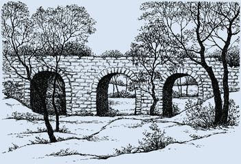 Vector landscape. Old dilapidated stone bridge in the park