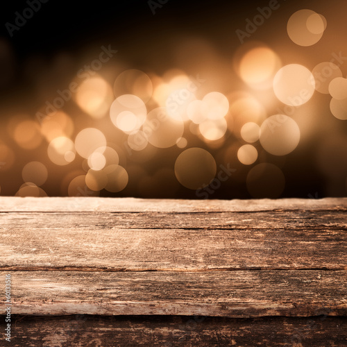 Wooden board with sparkling party lights