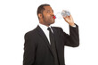 businessman drinks water