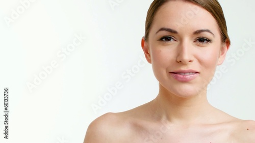 Beautiful Woman Posing Isolated on White Background