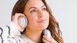 Smiling Girl Listen Music in Her Headphones