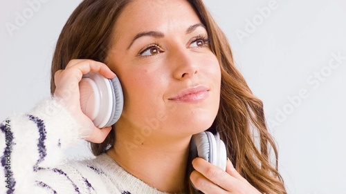 Smiling Girl Listen Music in Her Headphones