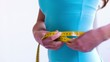 Close Up Of Woman Measuring Her Waist
