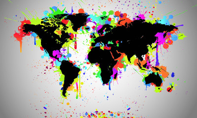 Worldmap Black Splash - Weltkarte