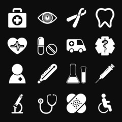 White Medical Icons Set