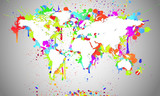 Worldmap White Splash - Weltkarte