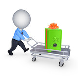 3d person with safe on a pushcart.