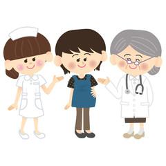 妊婦さんとナースとおばあちゃん先生