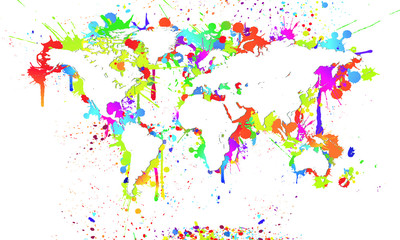 Worldmap White Background Splash - Weltkarte