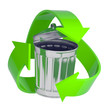 Silver trash can with green recycle logo