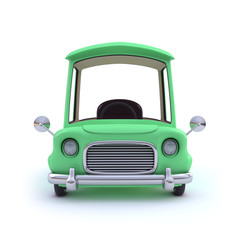 Cute green cartoon car from the front