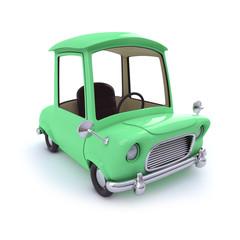 Cute green cartoon car top view