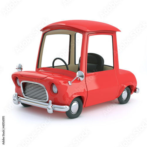 Cute red cartoon car side view