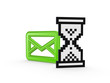 Sign of envelope and sandglass icon.