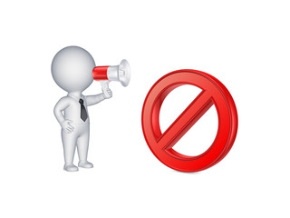 3d person with megaphone and symbol of ban.