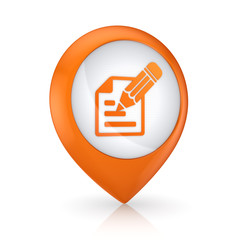 GPS icon with symbol of notepad.