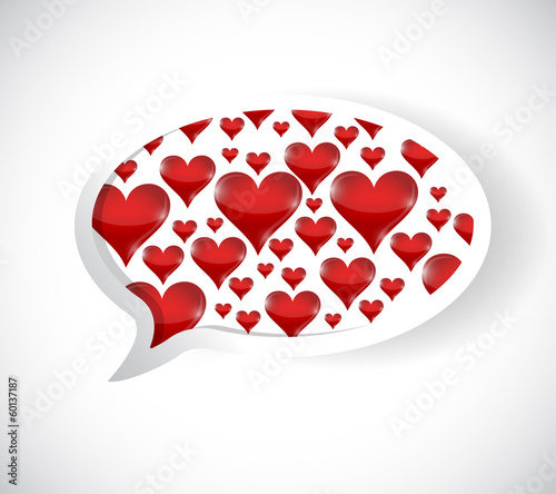 love hearts speech bubble illustration design