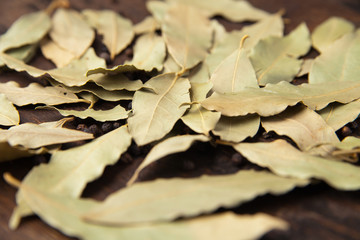 Bay laurel leaves on a wooden board